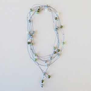 "Pearl necklace ""glossy"" blue/green"