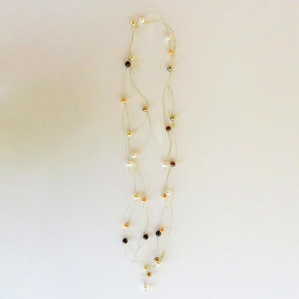 "Pearl necklace ""glossy"" brown/gold"