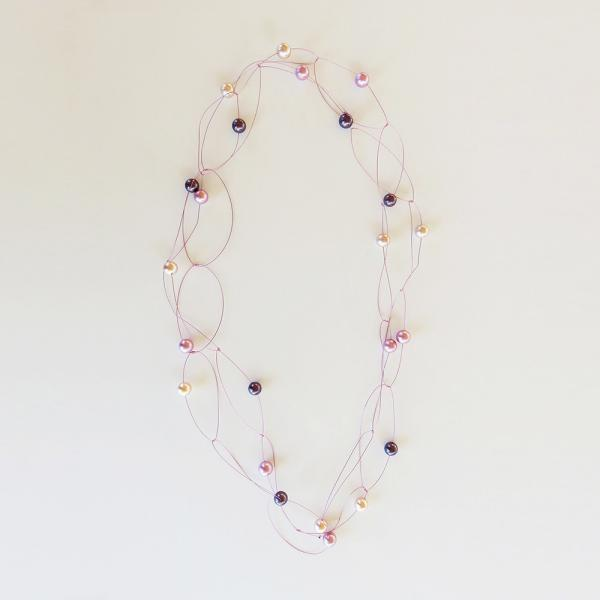 """Pearl necklace """"glossy"""" Violet/pink"""