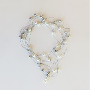 "Pearl necklace ""glossy"" white/grey"