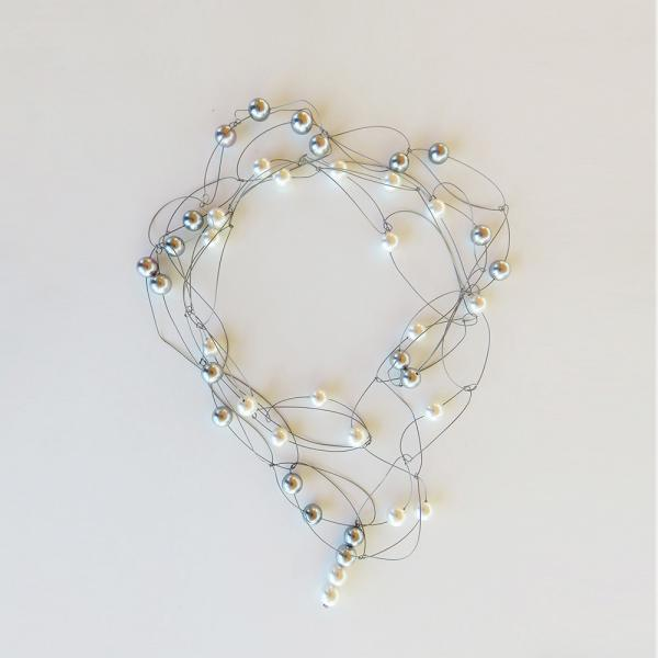 """Pearl necklace """"glossy"""" white/grey"""